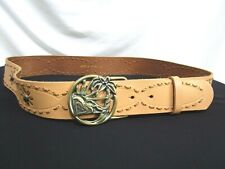 "Roxy Tan Brown Leather Floral Stitched Boho Brass Buckle Wide Belt M/L, 39""-43"""