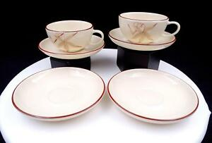 """WINFIELD USA 6 PC PINK PASSION FLOWER 2 1/8"""" FLAT CUPS & SAUCERS 1940's-1950's"""
