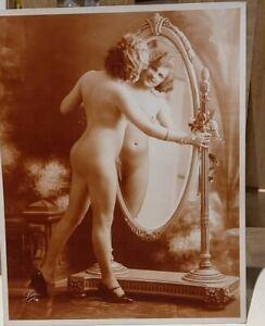 ORIGINAL FRENCH RISQUE EROTIC NUDE Leo PARIS? 18 circa 1910-30  PHOTO Sepia