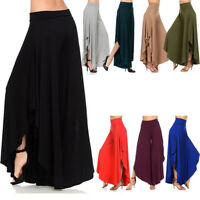 Womens Autumn Loose High Slit Layered Wide Leg Flowy Cropped Palazzo Pants Dress