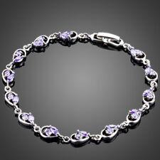 18K Gold GP Made With Swarovski Crystal Elements Heart Purple Bangle Bracelet