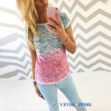Womens Summer Gradient Tops Short Sleeve T Shirt Casual Blouse Shirt Size 6-14