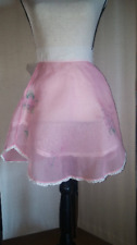 Cute Vintage Organza Pink and White Half Apron - Very Good Condition