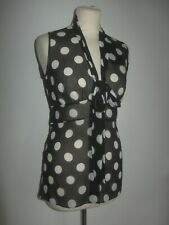 DOLCE& GABBANA - SPECIAL PIECE NWT SZ 40 BLACK-WHITE SPOTTY SILK BLOUSE