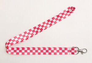 Unisex Pink and White Check Pattern Key Chain Lanyard ID Holder - Brand New