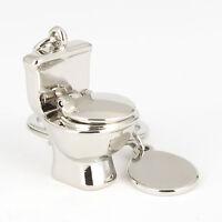 Creative Mini Closestool Sliver Key Chain Ring Keyring Metal Keychain Gift