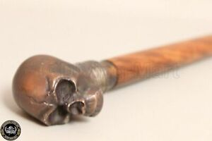 Vintage Antique Skull Handle Design Victorian Wooden Walking Stick Cane Gift