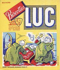 BUVARD PUBLICITAIRE / BISCOTTES LUC / CHATEAUROUX / FRERES JACQUES DORMEZ VOUS ?