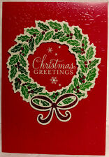 "Hallmark Christmas Cards Box of 12 w/ Foil Envelopes ""Greetings - Wreath"" - New!"