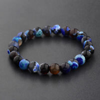8MM Men Women Fashion Spots Blue Beaded Cuff Charm Bangle Natural Stone Bracelet