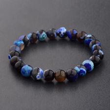 8MM Men Women Fashion Spots Blue Beaded Cuff Charm Bangle Natural Stone Bracelet