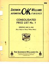 ORIGINAL SHERWIN WILLIAMS AUTOMOTIVE REFINISHERS PRICE LIST NO. 7 PRINTED 1939
