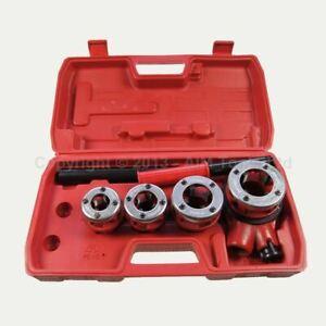 """318504 Manual Pipe Threading Set Plumbing 4 Dies 1/2"""" 3/4"""" 1"""" 1-1/4"""" Threader"""