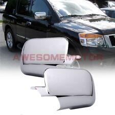 Triple Chrome Rearview Door Mirror Cover Pair For 04-15 Nissan Armada Titan AM