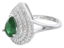 925 Sterling Silver Womens Pear Shape White & Emerald Cubic Zirconia Ring Size 5