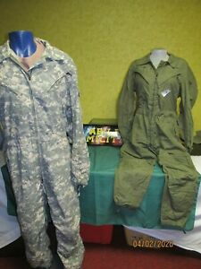 CVC COVERALLS OD ACU NOMEX FLIGHT TANKERS COVERALLS MENS USED REPAIRED