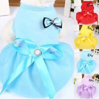 Dog Puppy Solid Color Cute Bow Princess Tutu Skirt Pet Summer Vest Dress Clothes