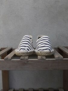 Espadrilles by Saint James cream navy UK 7-11 - Canvas Rope Soled Made in France