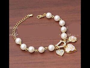 Heart Flower Charms Bracelet Gold Simulated Pearl Beads Rhinestone Bracelet