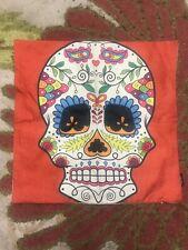Day Of Dead sugar skull throw pillow cover 17x17 Orange