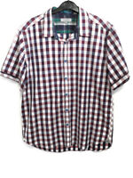 "Mens Ted Baker Short Sleeve Cotton Check Shirt Size 5 Red Pink White 42"" Summer"