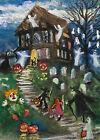 Original ACEO Art Halloween Haunted House Trick-or-Treaters Cat Ghosts Pumpkins