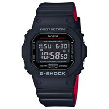 BRAND NEW CASIO G-SHOCK DW5600HR-1A BLACK/RED TWO LATER BAND DIGITAL WATCH NWT!!