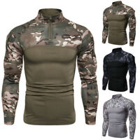 Men's Slim Fit Fitness Camouflage T-shirt Long Sleeves Muscle Tee Tops Blouse