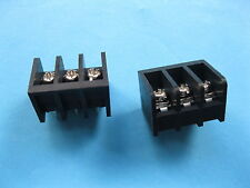 200 pcs Black 3 pin 6.35mm Screw Terminal Block Connector Barrier Type DC29B New