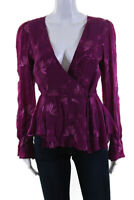 Cleobella Womens Charmer Floral Wrap V Neck Blouse Purple Size Medium 11562616