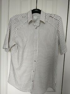 Men's Cream And Taupe Stripe Short sleeved Shirt size L From Next