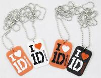 One Direction Necklace Silicone Alloy Pendant I love 1D Dog Tags HARRY LOUIS