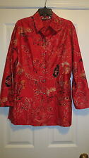 Chicos size 1 ladies silk shirt embroidered red long sleeve dress beaded gold
