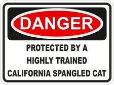 1x Danger Protected By California Spangled Cat Warning Funny Sticker Cat Pet