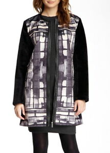 Custo Barcelona Women MARIN PAINTED Faux Fur Zip Jacket Coat Black 36, 38, 40