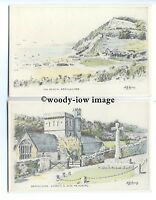 tb0187 - Devon - Lovely Branscombe Artist Sketches, by N.G.Curry - 2 postcards