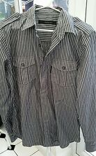 Calvin Klein Jeans de hombre camisa a rayas de algodón gris pequeño en muy buena condición