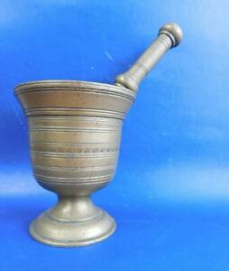 Large Heavy Antique Brass Apothecary Mortar & Pestle 1800s Medical Chemist