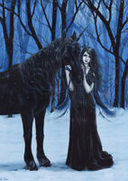 Gothic Fantasy Art PRINT Fairy Unicorn Snow Winter Forest Night Blue Cold Dark