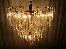 """Mid Century  chandelier Lucite acrylic ceiling fixture 3 tier 46 prisms 28"""" L"""