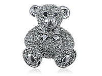 Lady Crystal Elements Gunmetal Smokey Grey Teddy Bear Pin Brooch Fashion Jewelry