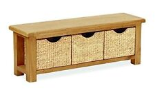 Basket Weave Solid Oak Bench/Rustic Oak Storage Bench / Rustic Wax Furniture