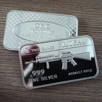 "1 Troy oz .999 Fine silver Bullion bar. ""M16A4 Assault Rifle"" design. NEW!"