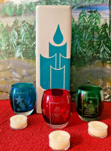 PARTLITE HOLIDAY TEALIGHT VOTIVE CANDLE HOLDER SET OF 3 COLORS CHRISTMAS #P7259