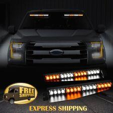 """34"""" 32 LED Car Emergency Warning Visor Split Deck Strobe Light Bar Amber Y White"""