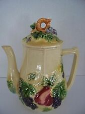 Vintage Tilso Fruit Grapes Teapot Coffee Raised Grape Hand Painted Ceramic Japan