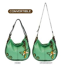 New Chala CONVERTIBLE Hobo Large Tote Bag DRAGONFLY Vegan Leather Teal gift