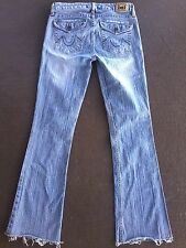 DISTRESSED Light Wash Denim LEI Low Rise BOOT CUT Bell Bottom FLARE Jeans Sz 3
