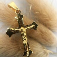 18K 750er Gold vegoldet Amor Kreuz Cross Kette Halskette Anhänger Damen Herren