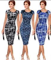 Elegant Women Dot Bodycon Short Sleeve Print Dress Pencil Skirt Office Work NEW